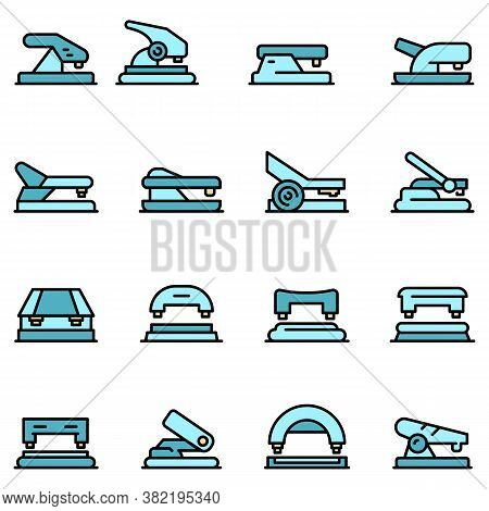 Hole Puncher Icons Set. Outline Set Of Hole Puncher Vector Icons Thin Line Color Flat On White