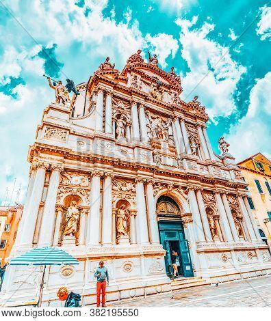 Venice, Italy - May 11, 2017 : Chiesa Di Santa Maria Assunta Detta I Gesuiti-is A Religious Building