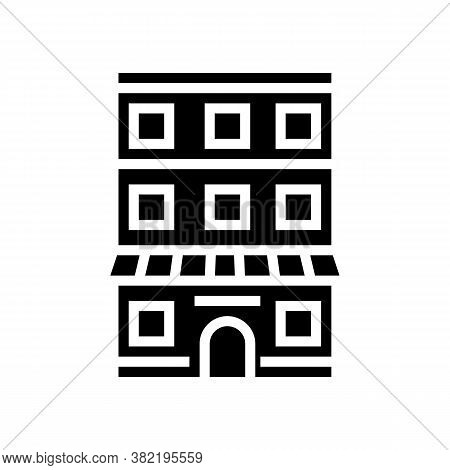 House With Apartment Building Glyph Icon Vector. House With Apartment Building Sign. Isolated Contou