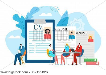 Interview For Job, Business Career Recruitment Vector Illustration. Resume For Hr Work Concept, Cand