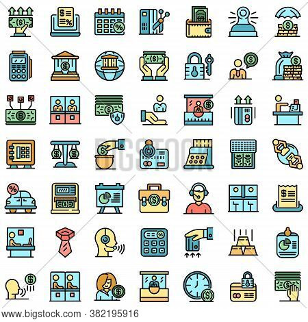 Bank Teller Icons Set. Outline Set Of Bank Teller Vector Icons Thin Line Color Flat On White