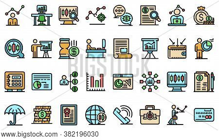 Trader Icons Set. Outline Set Of Trader Vector Icons Thin Line Color Flat On White