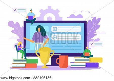 Study Business In Computer, Esucation Internet Training Vector Illustration. Distance School Student
