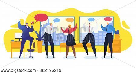 Group People Office Talk Vector Illustration. Worker Discussion Modern Technology Organization Busin