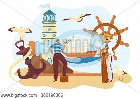 Sea Sailor People, Seaman Near Bottle Ship, Marine Cruise Captain Travel At Boat, Vector Illustratio