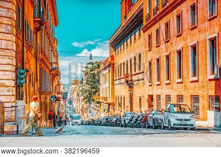 Rome, Italy-may 08, 2017:  Beautiful Landscape  Urban And Historical View Of The Rome, Street, Peopl