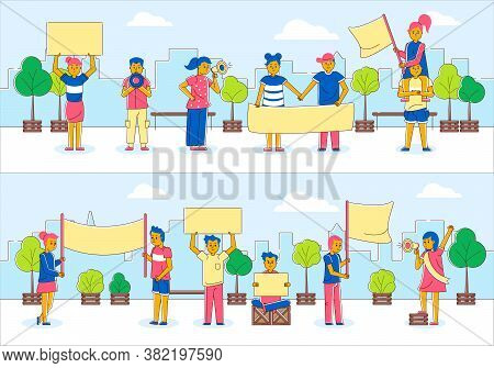 Protest People With Poster Banner Lacard Set, Activist At Demonstration Vector Illustration. Crowd G