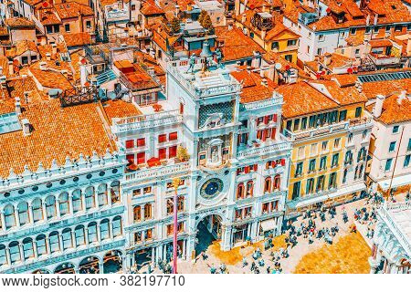 Venice, Italy - May 12, 2017 :panoramic View Of Venice From The Campanile Tower Of St. Mark's Cathed