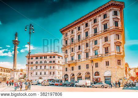 Rome, Italy - May 08, 2017 : Square Of Santa Maria Maggiore  (piazza Di Santa Maria Maggiore)and Col