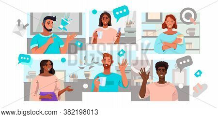 Video Conference And Virtual Meeting Illustration With Diverse People Working Online At Home. Online