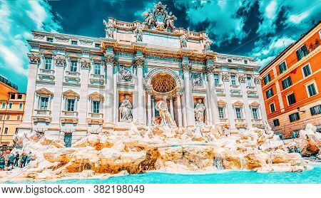 Rome, Italy- May 10, 2017:  Famous And One Of The Most Beautiful Fountain Of Rome - Trevi Fountain (