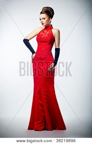 Beauty Bride In Long Bridal Red Dress And Black Gloves
