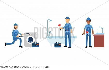 Young Man Plumber Wearing Blue Overall Fixing Sanitary Ware Vector Illustration Set