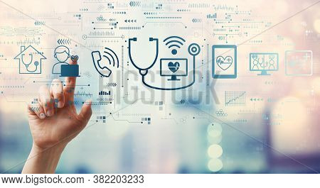 Telemedicine Theme With Hand Pressing A Button On A Technology Screen
