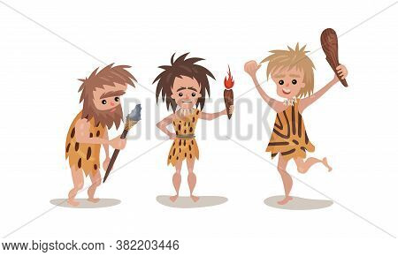 People Characters From Stone Age Wearing Animal Skin And Holding Primitive Tools Vector Illustration