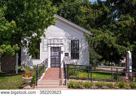 Ripon, Wi - 25 July 2020:  The Republican Schoolhouse, Also Known As Little White Schoolhouse Or Bir