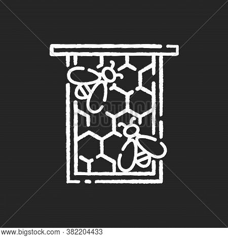 Honeycomb Frame Chalk White Icon On Black Background. Honeybees Nest, Nectar And Beeswax Container.