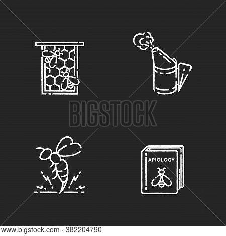 Bee Farming Chalk White Icons Set On Black Background. Honeycomb Frame, Bee Smoker, Honeybee Venom A