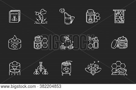 Beekeeping Chalk White Icons Set On Black Background. Honey Making Business. Apiculture, Apiology. H