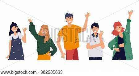 People Greeting Gesture. Smiling People Waving Hands. Happy Friends, Students Say Hello. Friendship