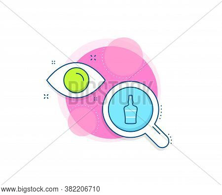 Brandy Alcohol Sign. Research Complex Icon. Scotch Bottle Line Icon. Analytics Or Analysis Banner. S