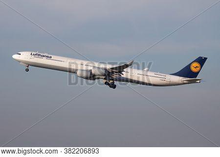 Munich / Germany - October 18, 2017: Lufthansa Airbus A340-600 D-aiha Passenger Plane Departure At M