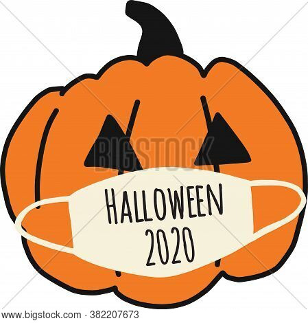 Halloween 2020 Pumpkin Wearing A Face Mask. Halloween Coronavirus Clipart. Hand Drawn Vector Illustr