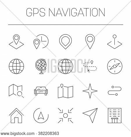 Gps Navigation Theme - Maps, Pointers, Pins, Globes, Routes And Compass Symbol. Simple Thin Line Vec