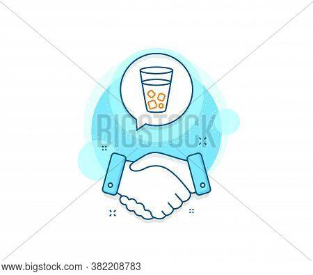 Soda Drink Sign. Handshake Deal Complex Icon. Ice Tea Line Icon. Fresh Cold Beverage Symbol. Agreeme