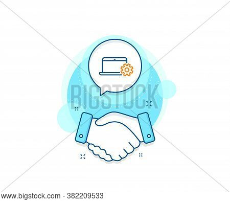Notebook Service Sign. Handshake Deal Complex Icon. Laptop Computer Icon. Portable Personal Computer