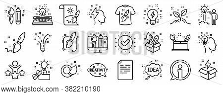 Set Of Design, Idea And Inspiration Linear Icons. Creativity Brush Line Icons. Imagination, Idea Box