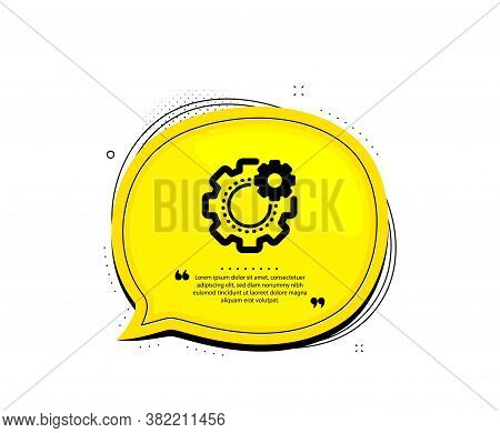 Cogwheel Icon. Quote Speech Bubble. Engineering Tool Sign. Cog Gear Symbol. Quotation Marks. Classic