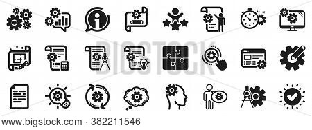 Set Of Idea Bulb, Dividers Tools And Blueprint Icons. Engineering Icons. Cogwheel, Calculate Price,