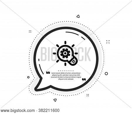 Cogwheel Icon. Quote Speech Bubble. Engineering Tool Sign. Idea Bulb Symbol. Quotation Marks. Classi