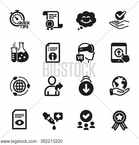 Set Of Technology Icons, Such As Technical Info, Augmented Reality. Certificate, Approved Group, Sav