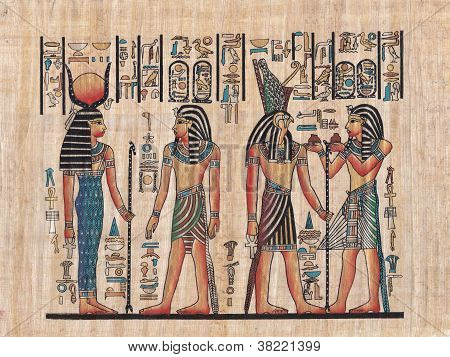 Scene from egyptian mythology painted on papyrus poster