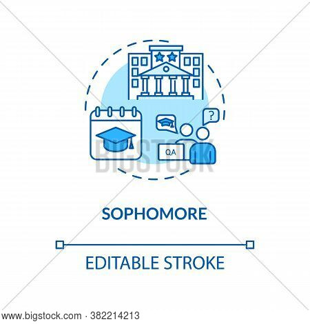 Sophomore Turquoise Concept Icon. Student On Second Year Studying. University Class Period. College