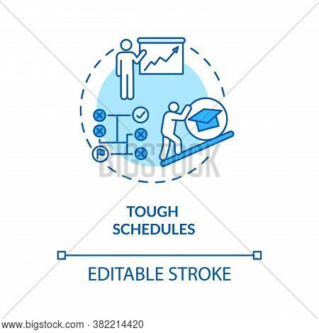 Tough Schedules Turquoise Concept Icon. Student Time Management. Organization For Project. College L