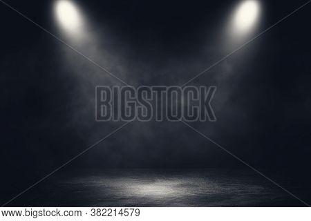 Empty Space Of Studio Dark Room Concrete Floor Grunge Texture Background With Spotlight And White Sm