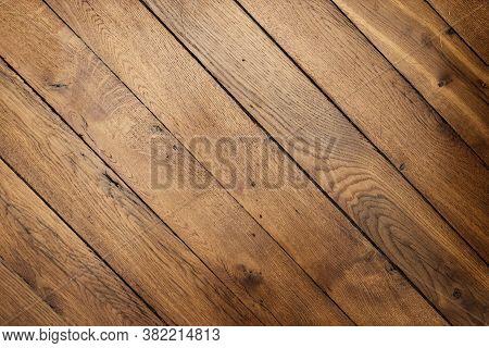 Image Of Dark Brown Wooden Background. Natural Wood Background. Brightly Lit Wooden Floor Background