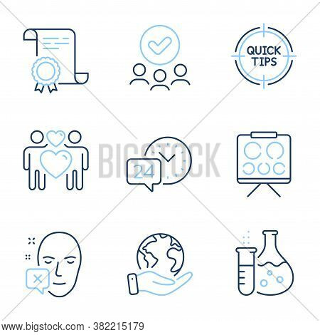 Vision Board, 24h Service And Face Declined Line Icons Set. Diploma Certificate, Save Planet, Group