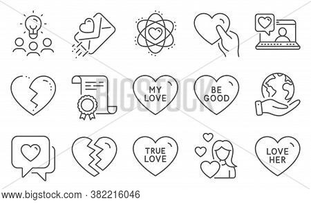 Set Of Love Icons, Such As Be Good, Break Up. Diploma, Ideas, Save Planet. Friends Chat, Love Her, L