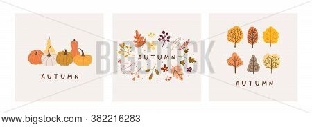 Autumn Mood Greeting Card Poster Template. Welcome Fall Season Thanksgiving Invitation. Minimalist P