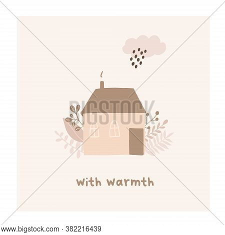 Autumn Mood Greeting Card With Warmth Cozy House Poster Template. Welcome Fall Season Thanksgiving I