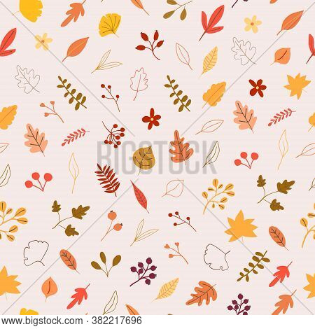 Autumn Mood Seamless Pattern With Yellow, Orange Leaves, Berries. Welcome Fall Season Thanksgiving B