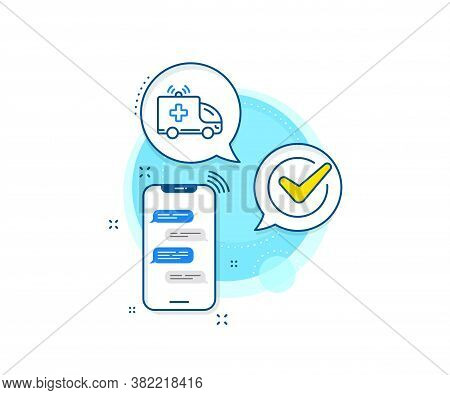 Medical Emergency Transport Sign. Phone Messages Complex Icon. Ambulance Car Line Icon. Messenger Ch