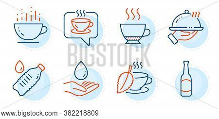 Water Bottle, Coffee Cup And Restaurant Food Signs. Water Care, Espresso And Coffee Line Icons Set.