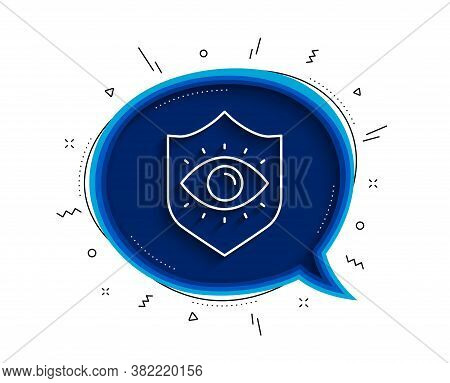 Eye Protection Line Icon. Chat Bubble With Shadow. Oculist Clinic Sign. Optometry Vision Symbol. Thi