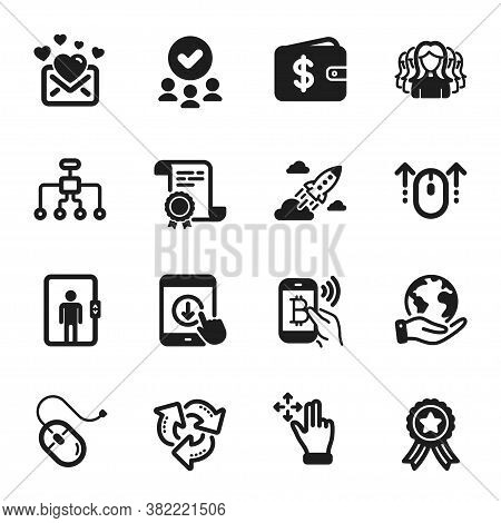 Set Of Business Icons, Such As Restructuring, Swipe Up. Certificate, Approved Group, Save Planet. Do