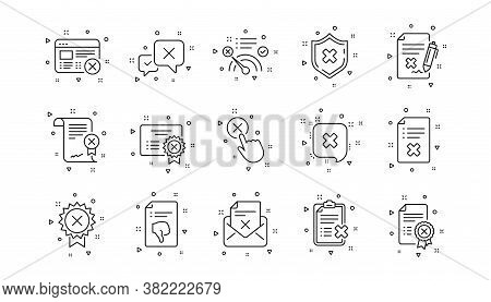 Decline, Cancel And Dislike. Reject Line Icons. Disapprove Linear Icon Set. Geometric Elements. Qual